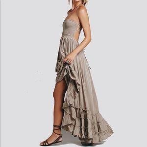 Women Summer Cotton Sexy Blackless Long Dress FP